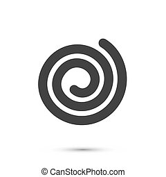 Spiral icon flat black, Sign on a white background
