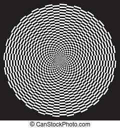 Spiral Illusion Design Pattern - White on black circle...