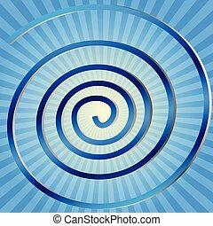 Illustration blue spirals on yellow blue background.