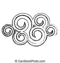 spiral, kontur, moln, ikon