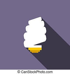 Spiral light bulb icon, flat style
