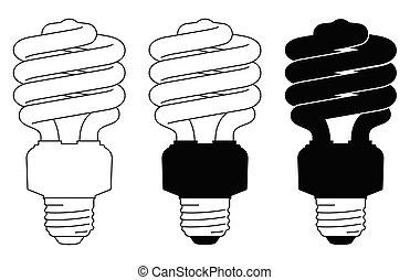 Spiral light bulbs icons set