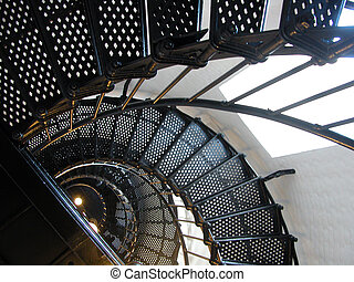 Spiral Lighthouse Stairs - Stairs spiral to the top of...