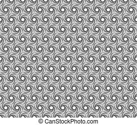 Spiral line geometric seamless pattern. Modern vector tile background with hexagons.