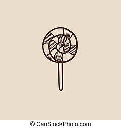 Spiral lollipop sketch icon.