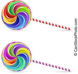 Spiral lollipop - Spiral rainbow lollipop - isolated on...