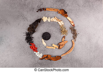 Spiral made of different herbs of tcm. - Spiral made of ...
