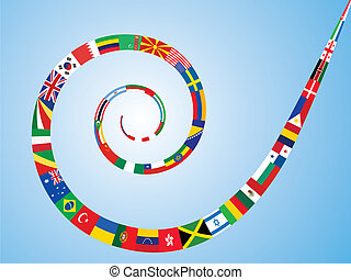 spiral made of flags - spiral made of world flags vector...