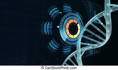 Spiral molecule of DNA in abstract blue space with data backdrop
