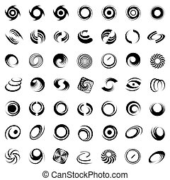 Spiral movement and rotation. 49 design elements. Vector art.