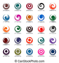 Spiral movement and rotation in circle shape. Design...