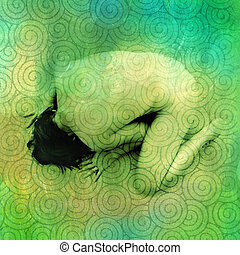 Spiral Muse - The back of an an anonymous nude woman bowing...