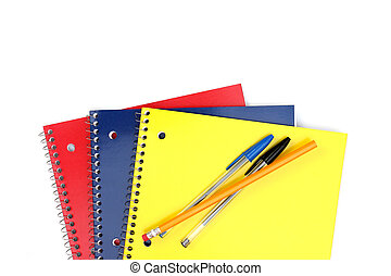 Spiral Notebooks in a stack on a white background