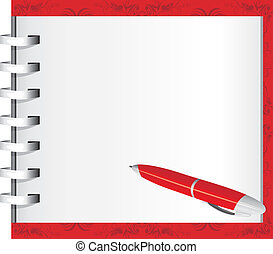 Spiral notepad and red ballpen. Vector illustration
