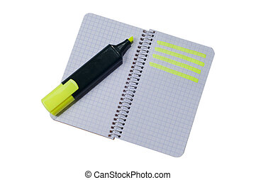 Spiral notepad with path highlighte