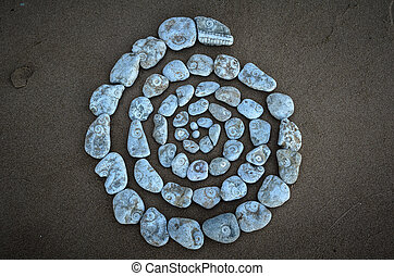 Spiral of textured pebbles