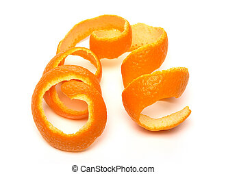 Spiral orange peel on white background.