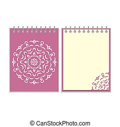 Spiral purple cover notebook with round ornate pattern