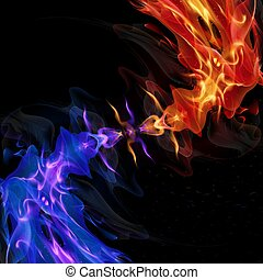 Spiral red and blue flame