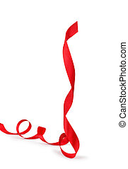 spiral red ribbon isolated on white background