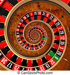 The concept of gambling at roulette, spanning a player in a spiral vortex