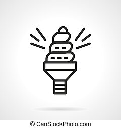 Spiral saving bulb black line vector icon