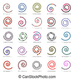 Spiral set. 25 design elements.