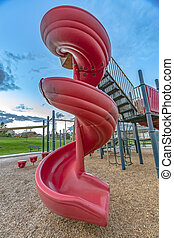 Spiral slide against sky in Saratoga Springs Utah