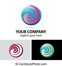 Spiral sphere abstract logo templat