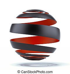 spiral sphere isolated on a white background. 3d render