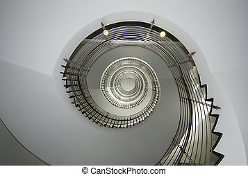 Spiral spin stair with metal guardrail