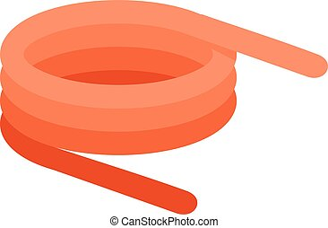 Spiral spring icon, flat style - Spiral spring icon. Flat...