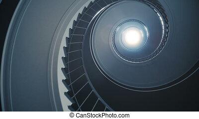 Spiral stair to the light. - Seamless loop. 4k rendering.