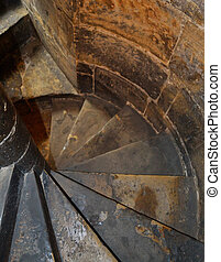 Spiral staircase in an old church