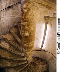 Spiral staircase in church