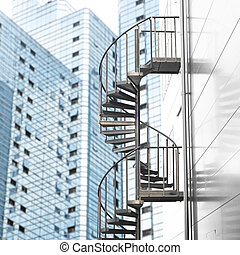 Spiral staircase in city