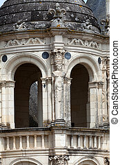 Spiral staircase in the Chambord castle, Loire Valley, France