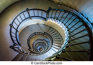 Spiral staircase in the Ponce de Leon Inlet Lighthouse, Florida.