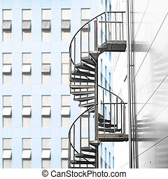 Spiral staircase in urban area
