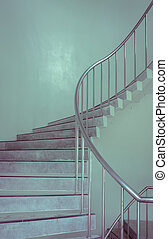 Spiral staircase in vintage color style