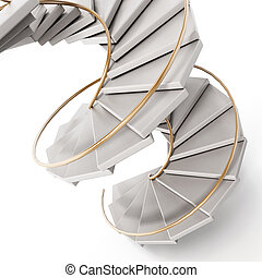 Spiral staircase isolated on white background. 3D illustration