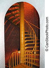 Spiral Staircase - Spiral staircase inside lighthouse framed...