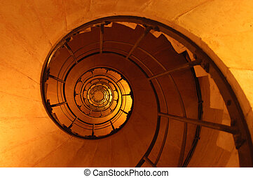 Spiral staircase shot inside the arc d'triomphe in Paris
