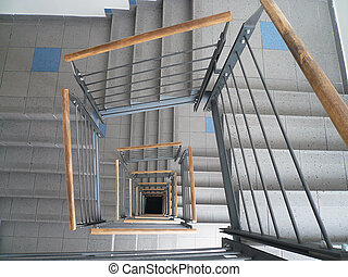 Spiral staircase - the spiral staircase with banisters