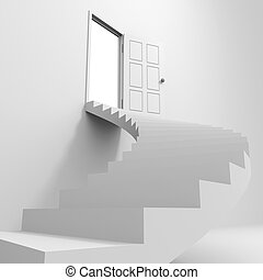 Spiral staircase to the open door.