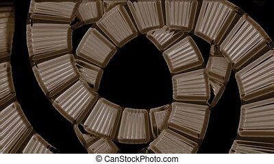 spiral stairs tunnel hole,square card papers math geometry...