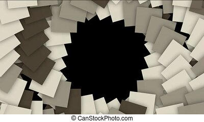 spiral stairway and rotation square paper cards tunnel hole, computer tech web background.