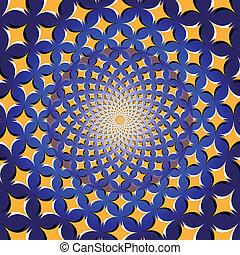 Spiral Star Wheel (op. illusion) - A rotating wheel of stars...