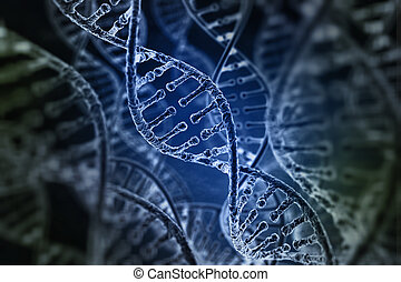 Spiral strands of DNA on the dark background
