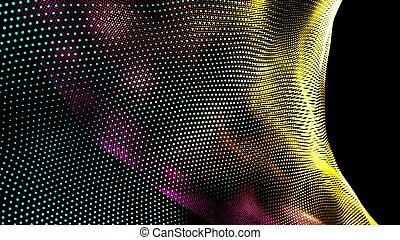 Spiral surface with wavy lines of shining dots. Computer generated 3d rendering abstract background